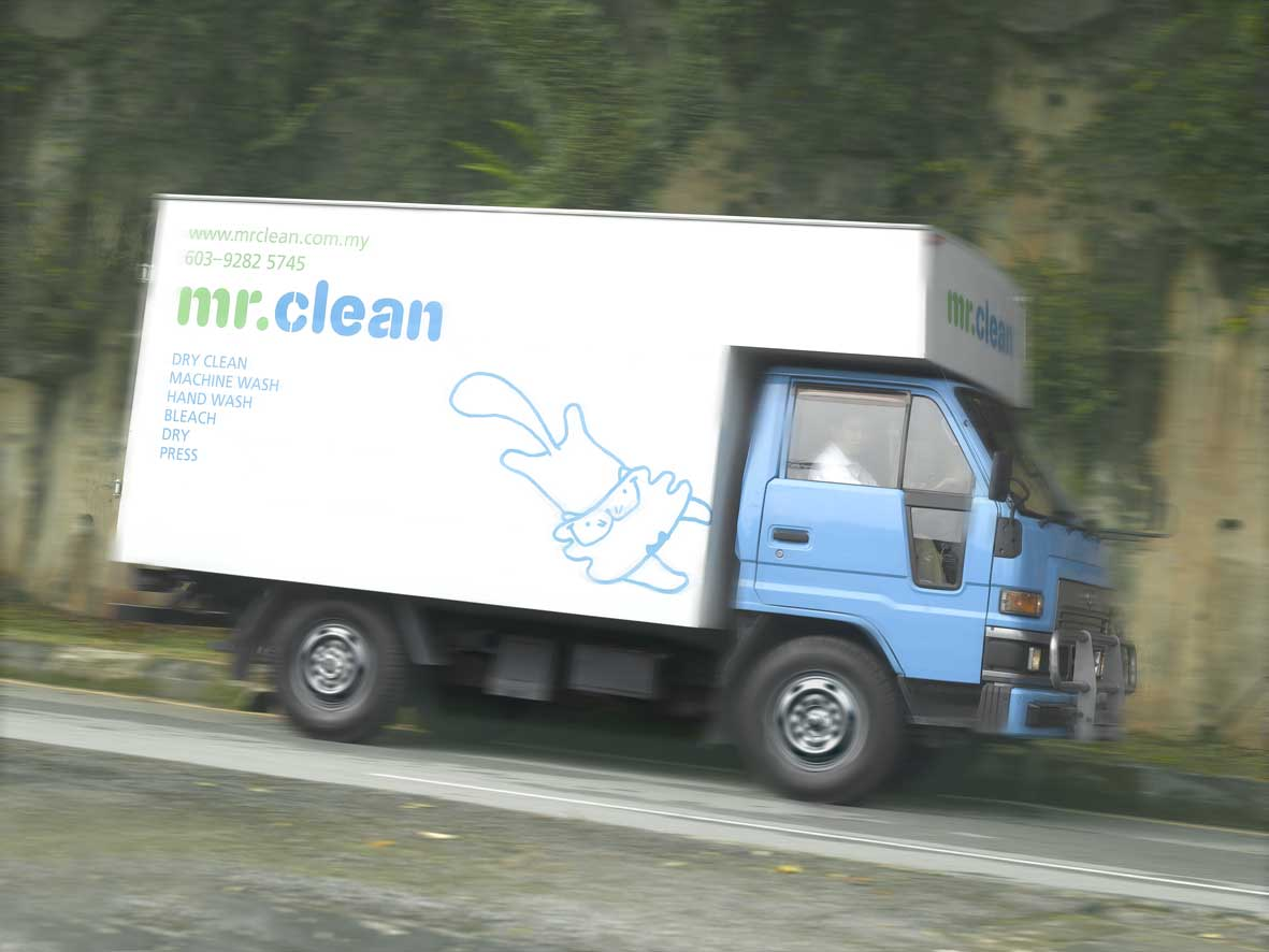 mr clean pick up and delivery truck